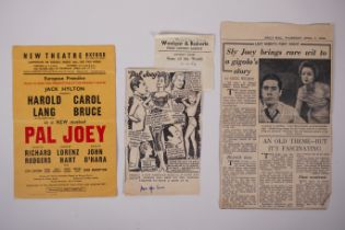 An original flyer for the 1954 European Premiere of 'Pal Joey' featuring Olga Lowe etc