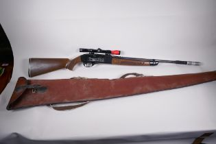 """An American pump action Grossman 766 .177 calibre air rifle with sights and silencer (faults) 43"""""""