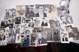 A collection of vintage photographs featuring figures from theatre, film and sport, many signed