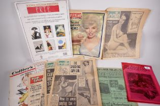 """Six colour posters after Erte, 12"""" x 16"""", together with a copy of the Amateur Photographer magazine,"""