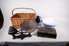 A set of vintage cast iron kitchen scales and weights together with a T.G. Green & Co Cornish blue