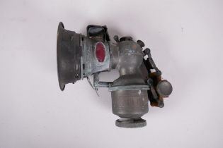 """A Millers Betolite carbide cycle lamp, 7"""" long"""