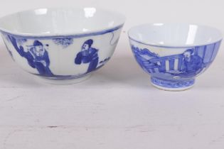 A Chinese blue and white porcelain tea bowl decorated with a figure in a continuous landscape, 6