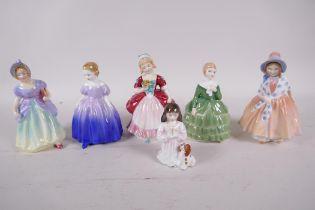 Five Royal Doulton figures of young girls, Valerie HN2107, Belle HN2340, Marie HN1370, Lily