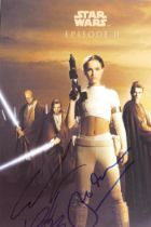 A Star Wars Episode II promotional photograph, bears various signatures including George Lucas and