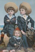 "A C19th chromolithograph, three sailor boys, 'Young Britons', 18"" x 17"""