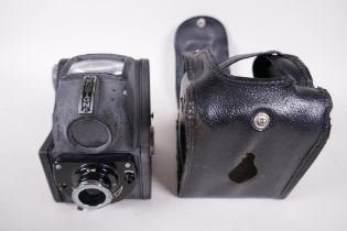 """A vintage Ensign Ful-Vue camera and case, 4"""" high"""