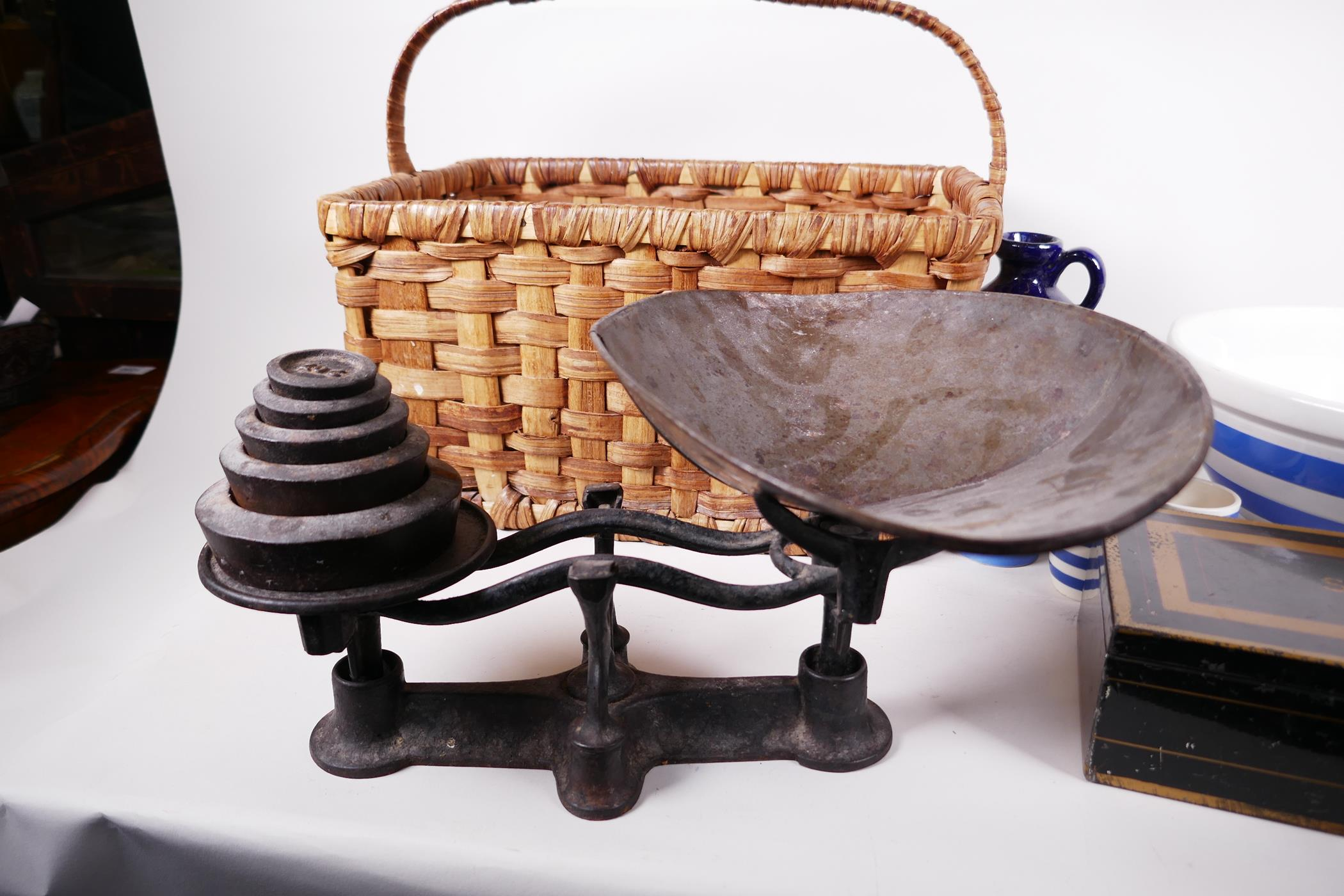 A set of vintage cast iron kitchen scales and weights together with a T.G. Green & Co Cornish blue - Image 2 of 4