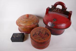 """A Burmese painted wood box and cover, 10"""" diameter, together with a Chinese wedding box, and two"""