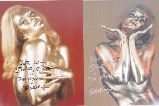 Shirley Eaton, two signed photographs of her in make up for her part as Jill Masterson in the