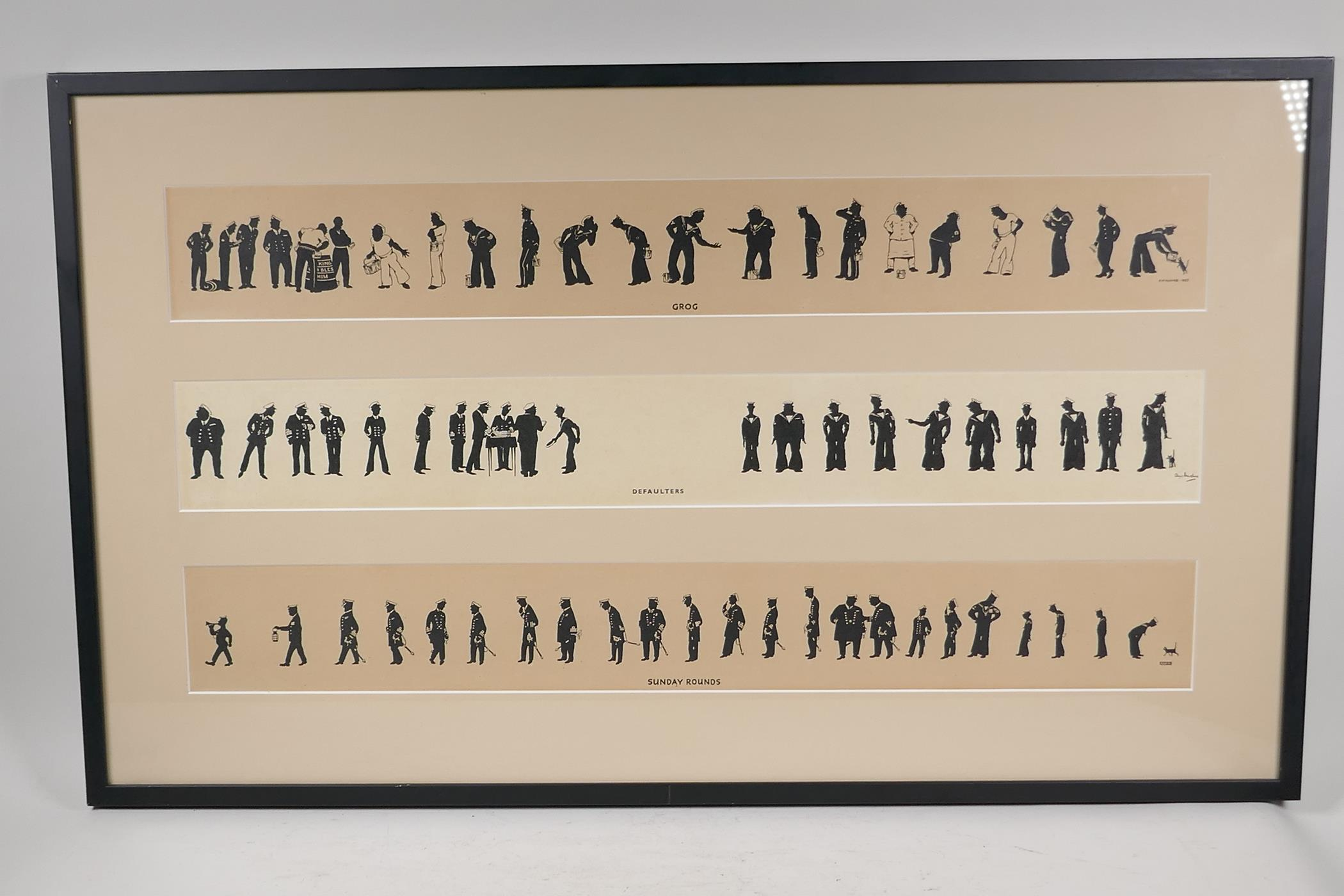 A.M. Hughes, three silhouette prints of naval life, Grog, Defaulters and Sunday Rounds, mounted in a - Image 2 of 9