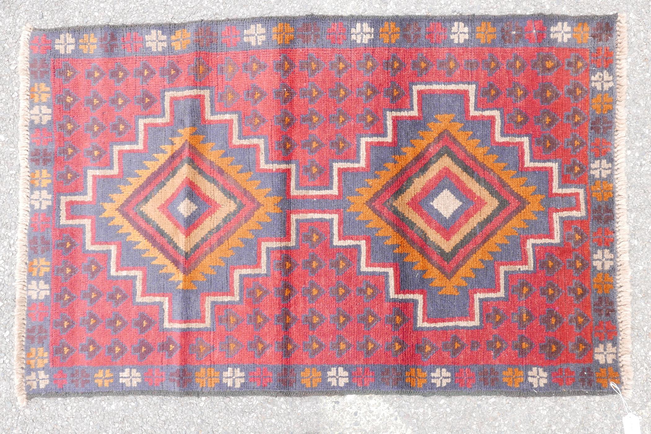 "Full pile red ground Afghan Belouch nomadic rug, 35"" x 56"" - Image 2 of 4"