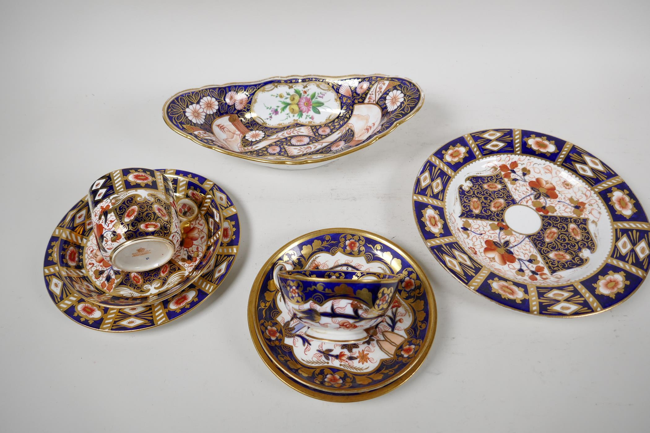 """Two Derby Japan pattern porcelain trios, a plate 8"""", and an oval bowl"""