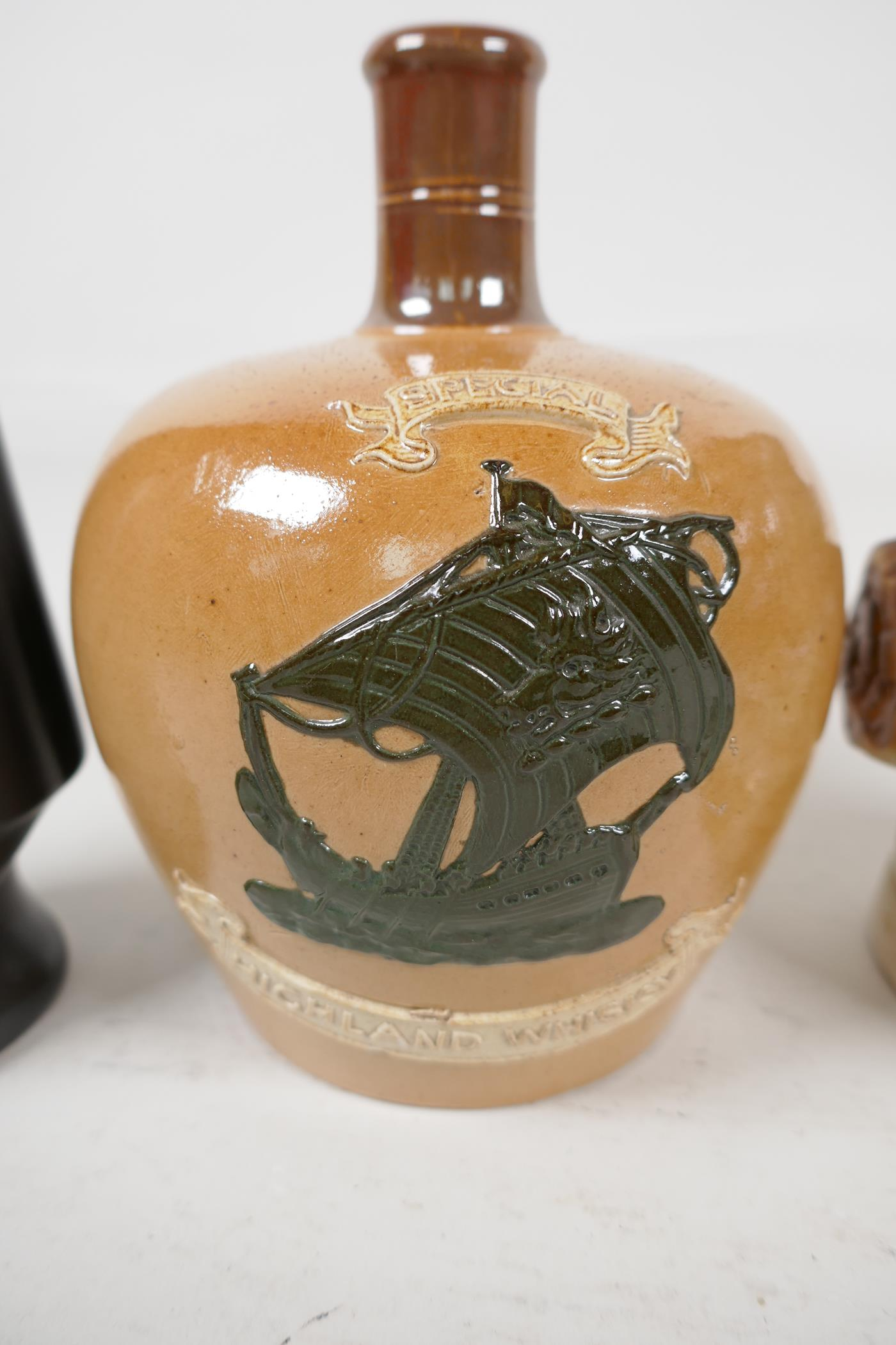 A Stoneware Highland Whisky flask, a Wedgwood 'Don' for Sandeman Sherry decanter and an Australian - Image 2 of 5