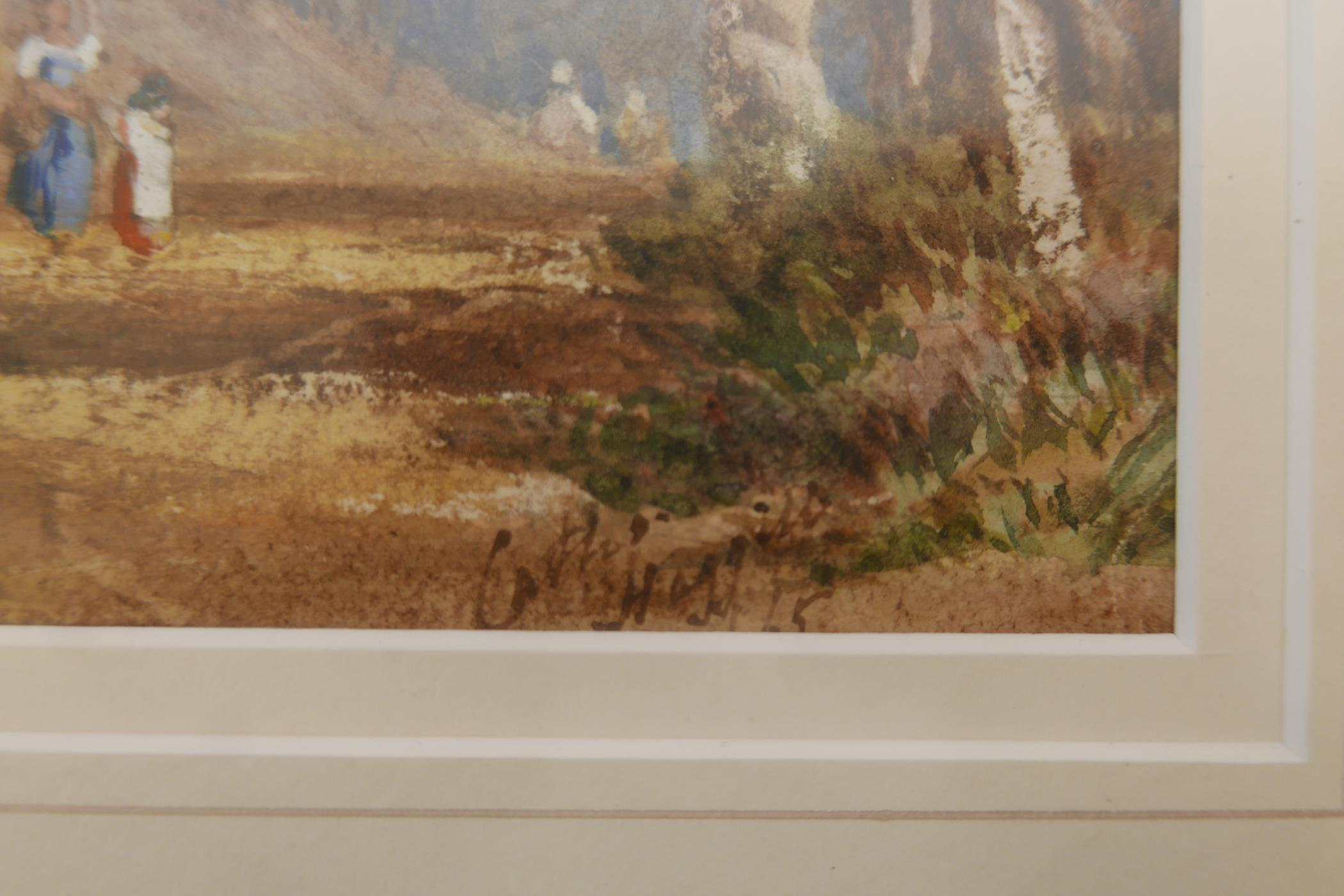 Extensive landscape with figures on a path, signed indistinctly Cath Huggiss ?, C19th watercolour, - Image 2 of 5