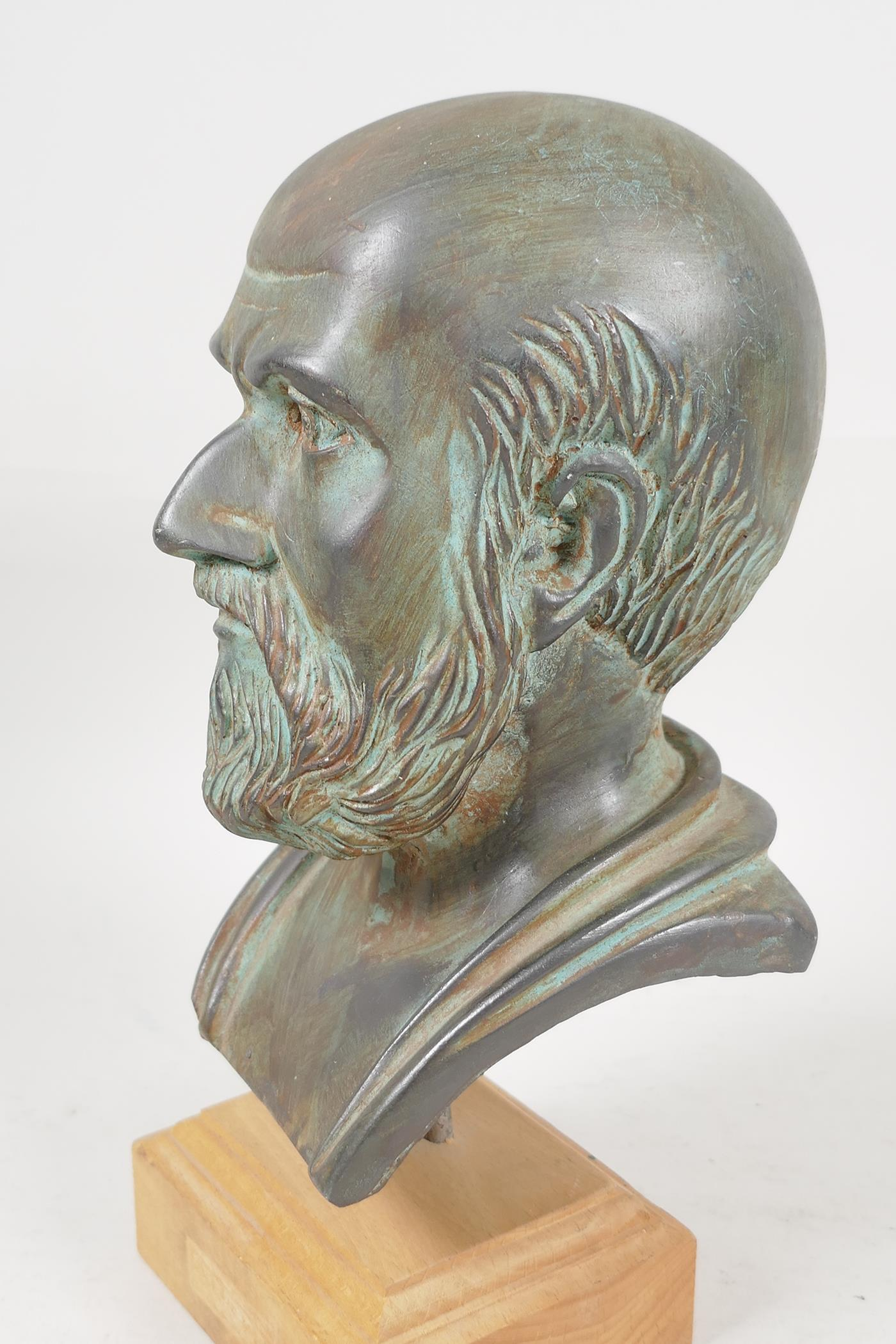 """A plaster bust after the antique, 7"""" high - Image 2 of 3"""