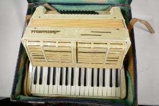 A Santianelli piano accordion in fitted case