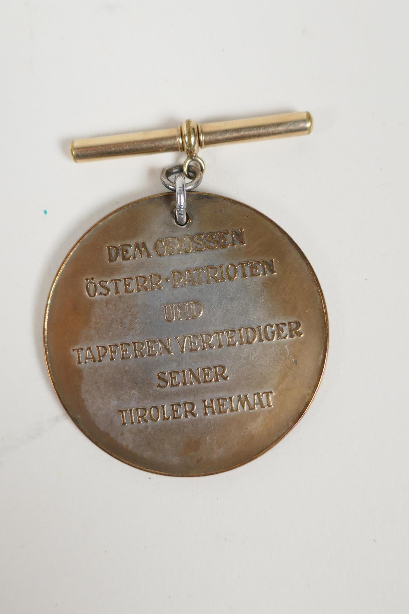 A bronze medallion commemorating Andreas Hofer together with masonic medals and an RAF cap badge, - Image 3 of 8