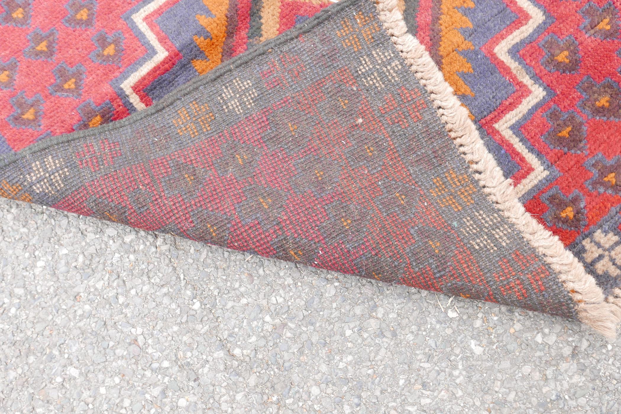 "Full pile red ground Afghan Belouch nomadic rug, 35"" x 56"" - Image 4 of 4"