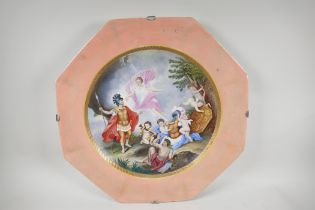 """A C19th Vienna porcelain charger painted with a classical scene, A/F restored, 20"""" wide"""