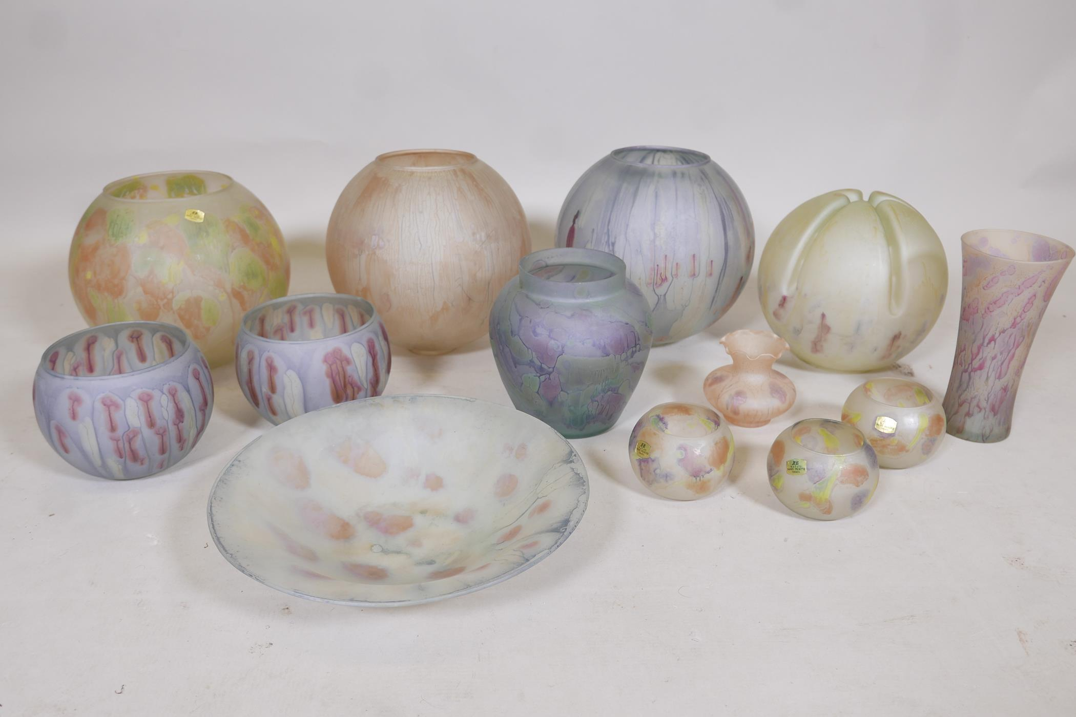 A quantity of Israeli hand painted studio glass to include lamp shades, vases, bowls and dishes,