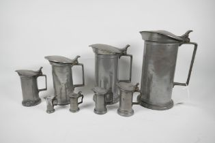 """A set of eight C19th French pewter measures by Bazire, 21ltr to 1centilitre, largest 10"""" high"""