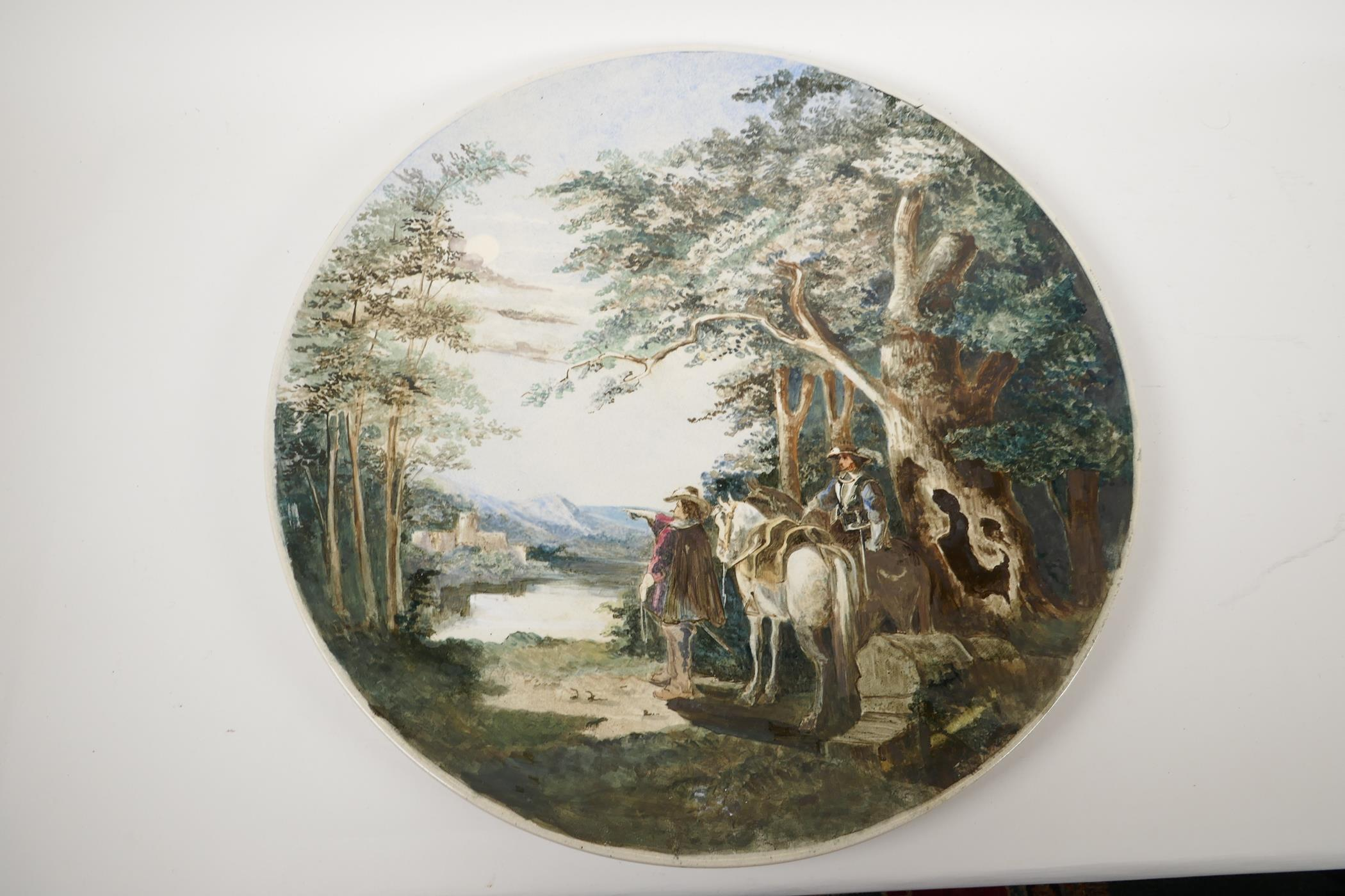 A large porcelain wall plaque painted with horsemen in a landscape, impressed Worcester Porcelain - Image 2 of 4