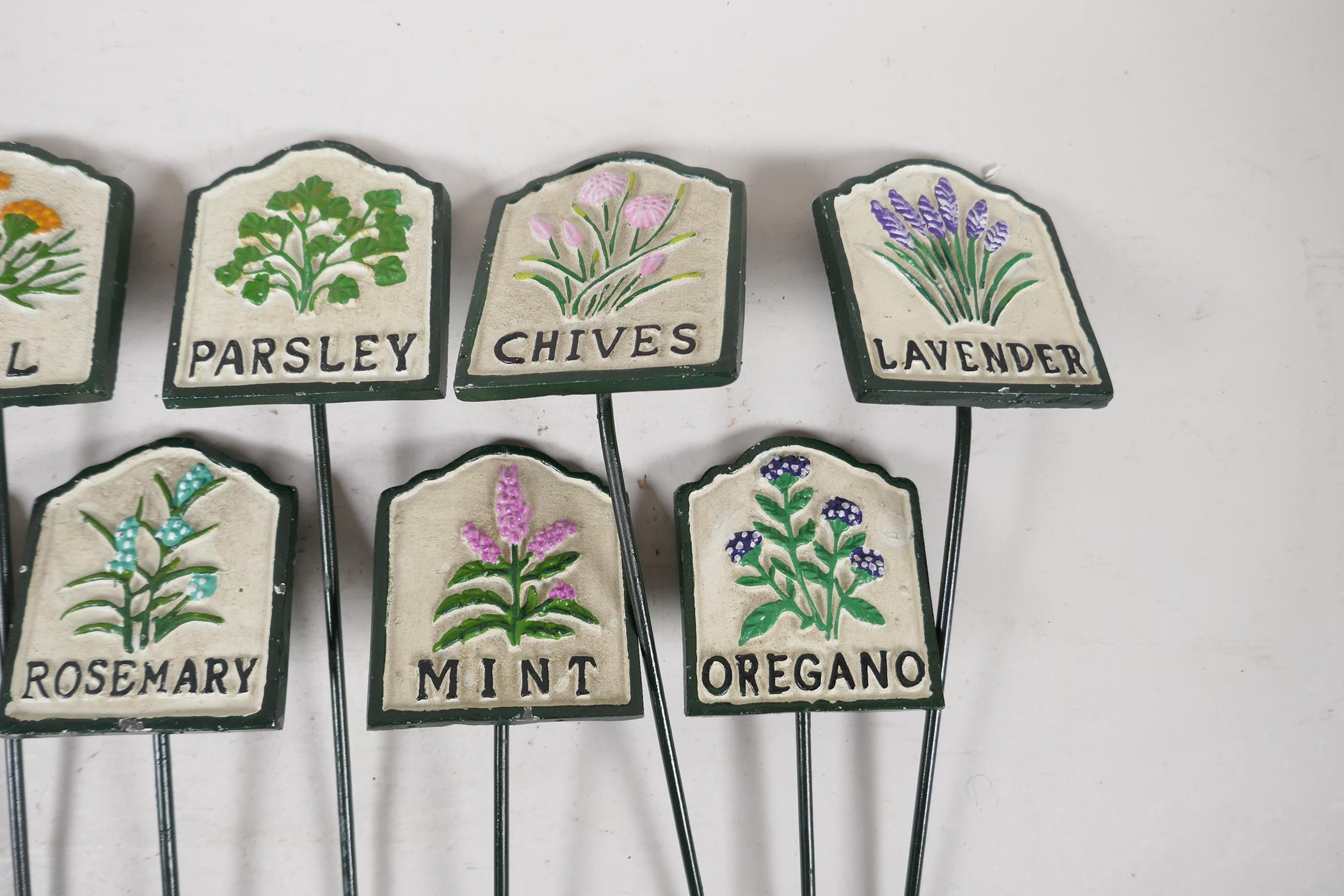 """A set of twelve painted cast iron herb markers, 3"""" x 2½"""" - Image 4 of 4"""