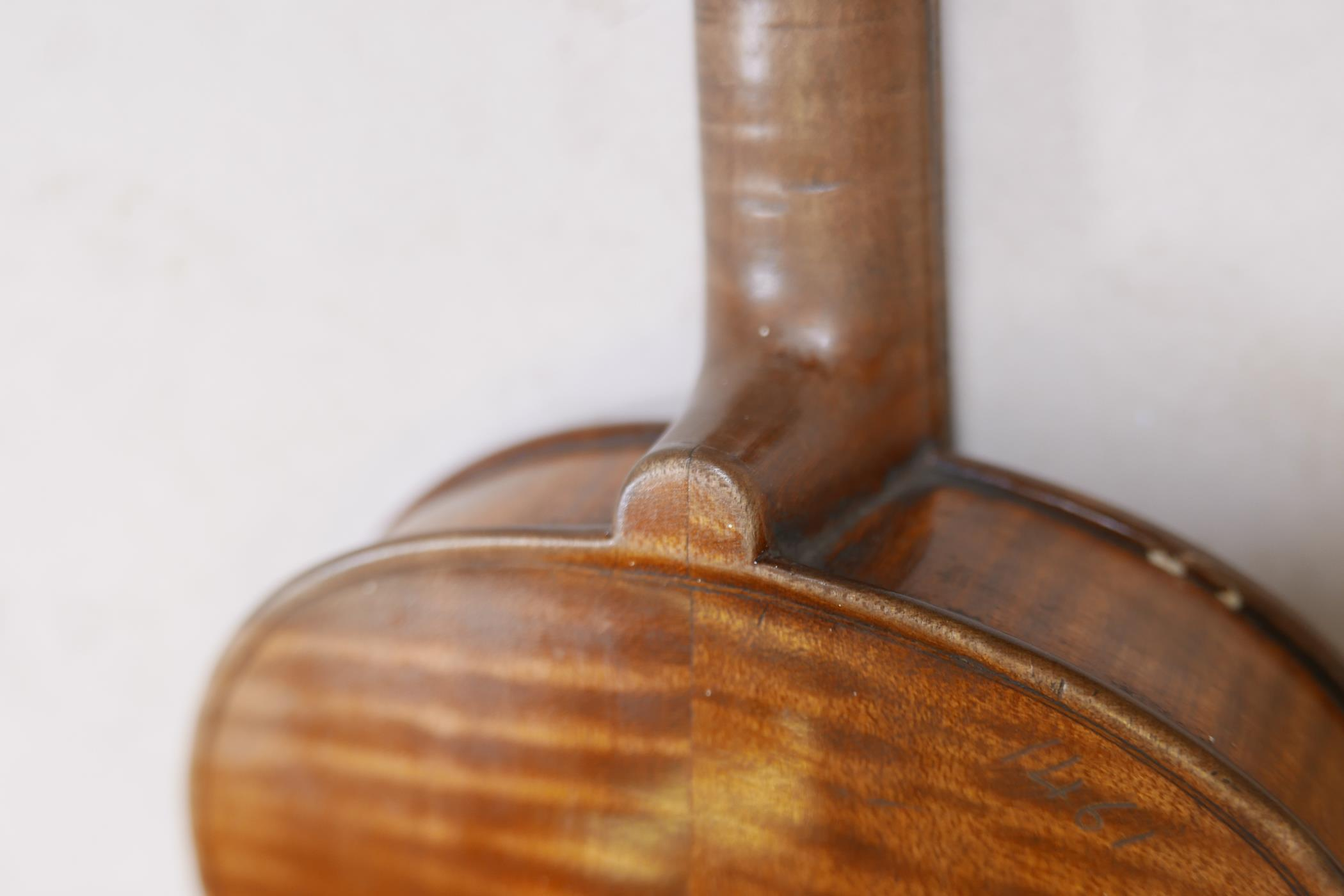 """An antique violin and bow in case, bears label Andreas Amati fecit, Cremonae anno 1604, back 14½"""" - Image 8 of 14"""
