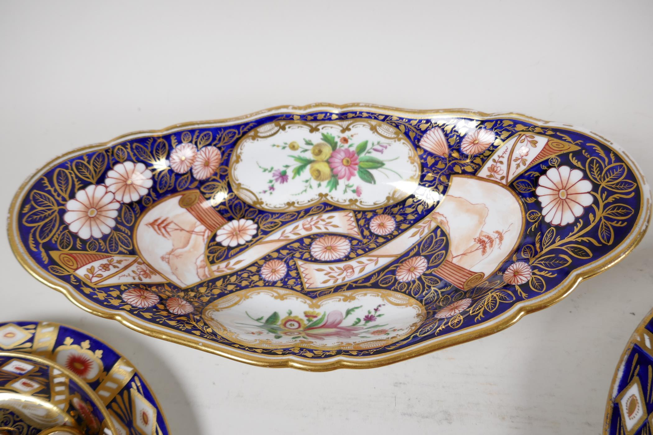 """Two Derby Japan pattern porcelain trios, a plate 8"""", and an oval bowl - Image 4 of 5"""