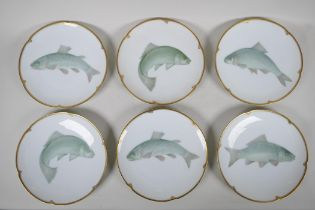 """A set of six German 'Thomas' porcelain fish plates with shaped and gilt rims, 9"""" diameter"""