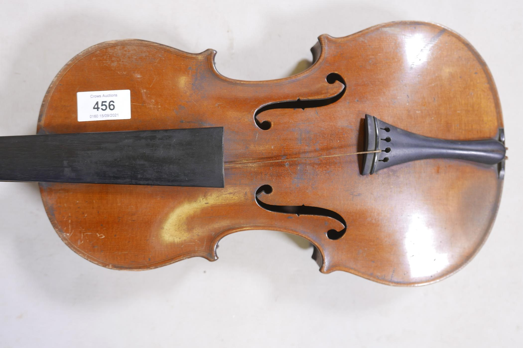"""An antique violin and bow in case, bears label Andreas Amati fecit, Cremonae anno 1604, back 14½"""" - Image 10 of 14"""