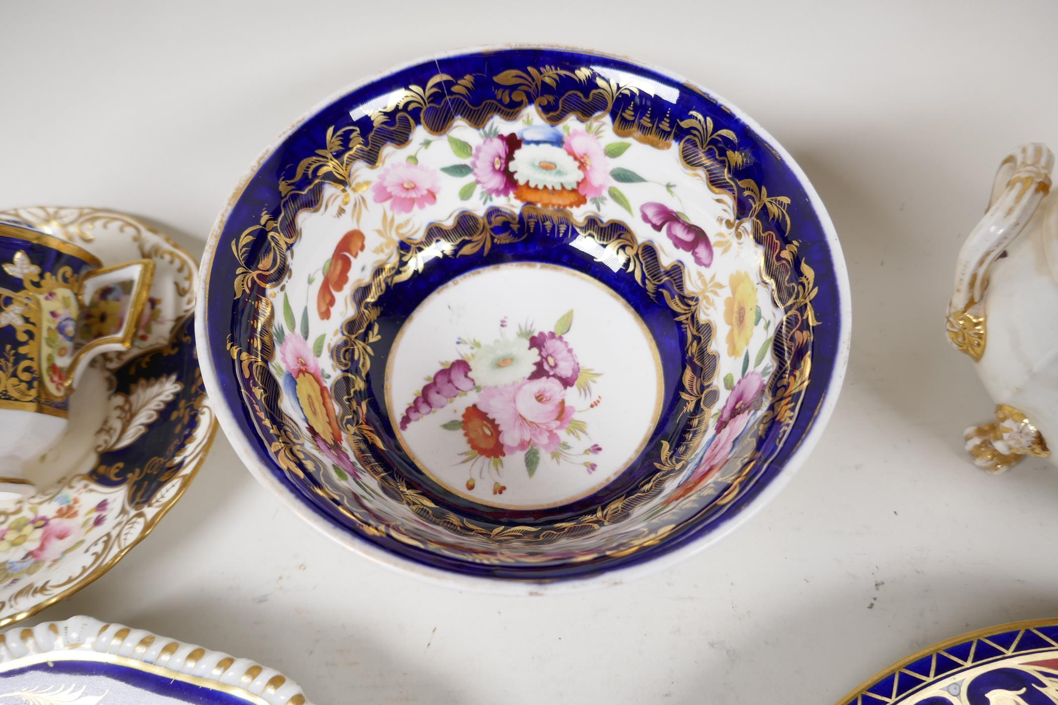 """A Crown Derby sauce tureen and cover, with hand painted flowers and gilt highlights, 6½"""" wide, and - Image 5 of 7"""