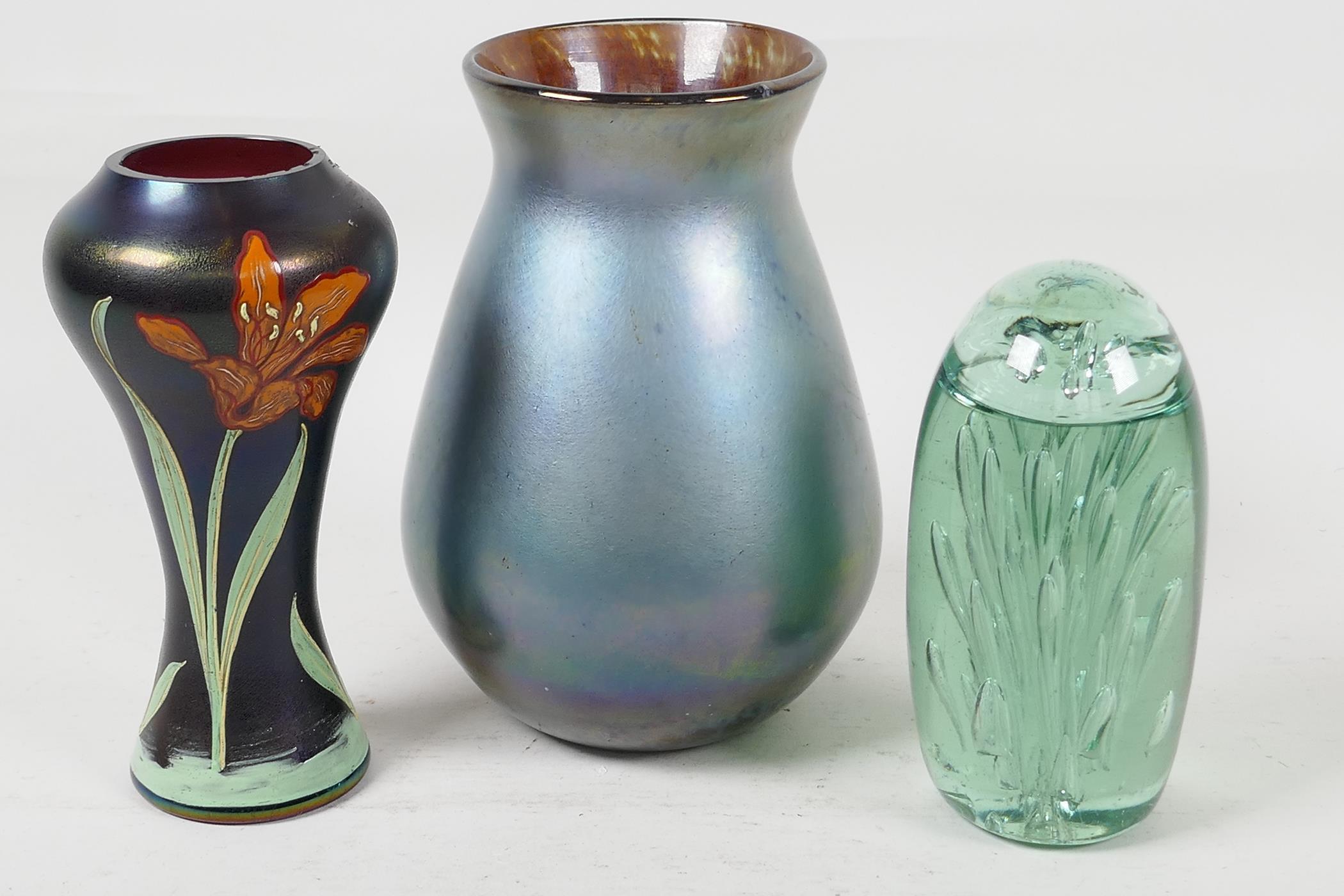 "An Art Nouveau studio glass vase decorated with enamelled lilies, 6"" high, a lustre ware studio"