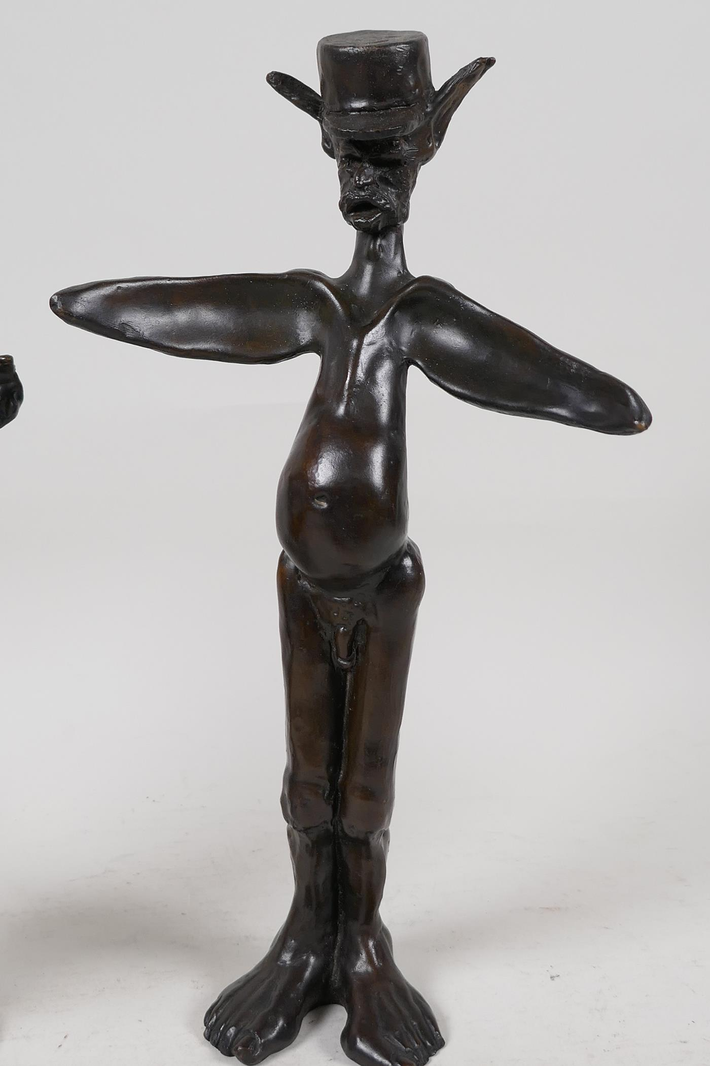 """Two Guido Mariani contemporary bronze figures, signed, tallest 10"""" - Image 2 of 7"""