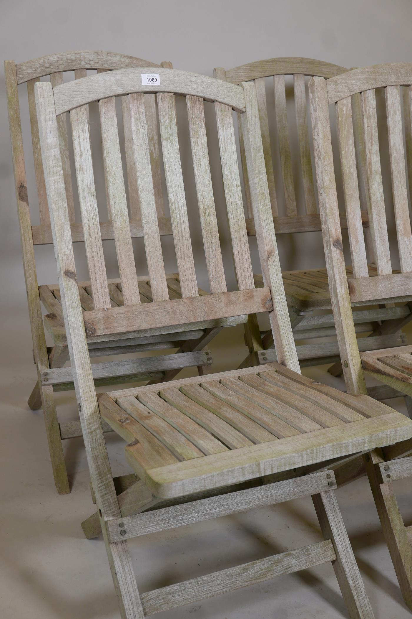 A set of six Heal's teak folding garden chairs - Image 2 of 3