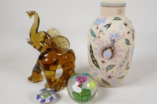 """A C19th milk glass vase painted with flowers, 9"""" high, a Murano glass figure of an elephant and"""