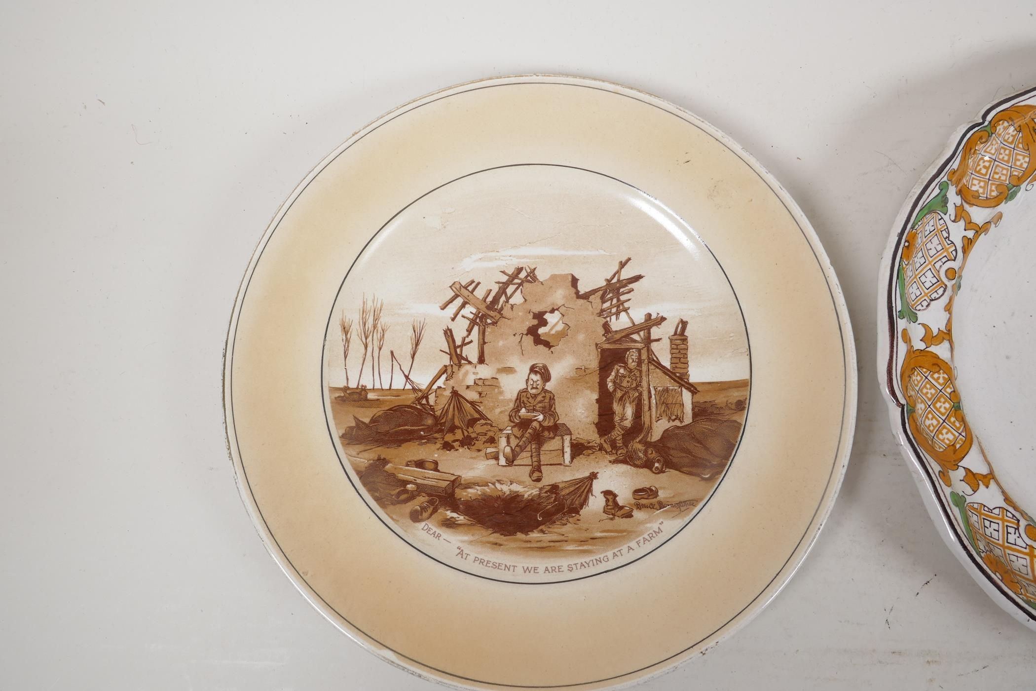 """A late C18th/early C19th Fayence plate with a geometric design, 9½"""" diameter, together with a - Image 3 of 3"""