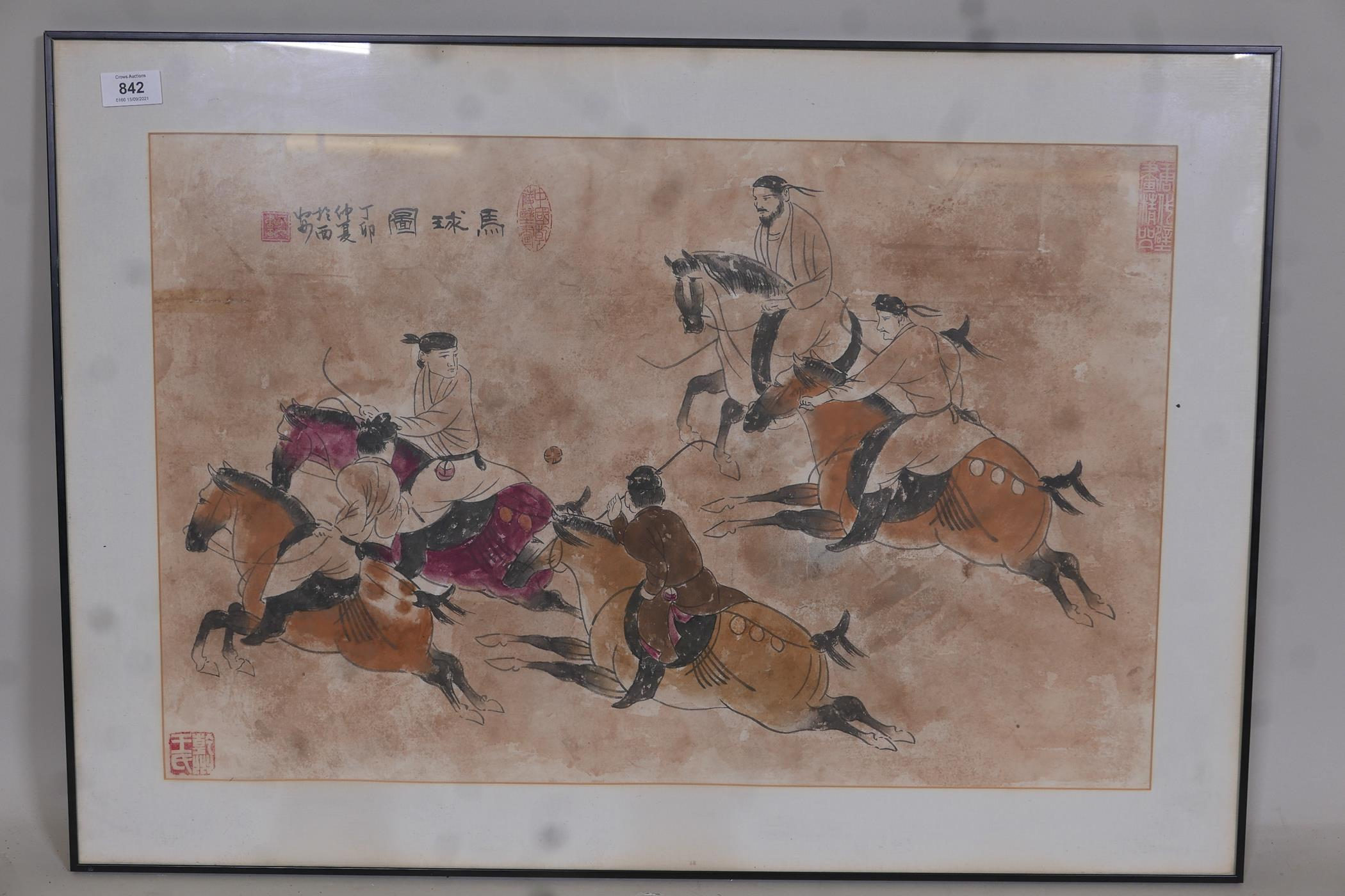 """Chinese watercolour depicting polo players, with inscriptions and seal marks, 26"""" x 17"""" - Image 2 of 6"""