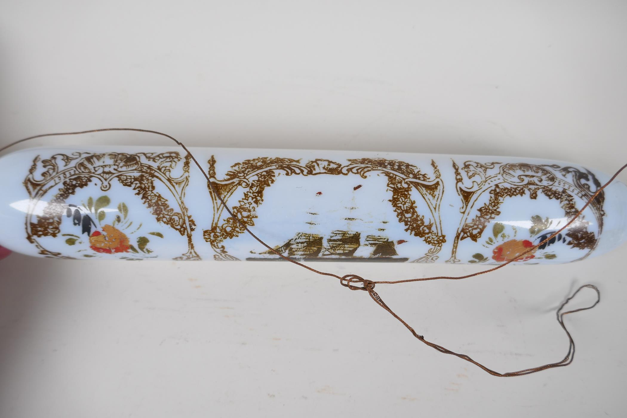 """A Victorian milk glass rolling pin, painted with flowers and a three masted ship, 14"""" long - Image 4 of 5"""