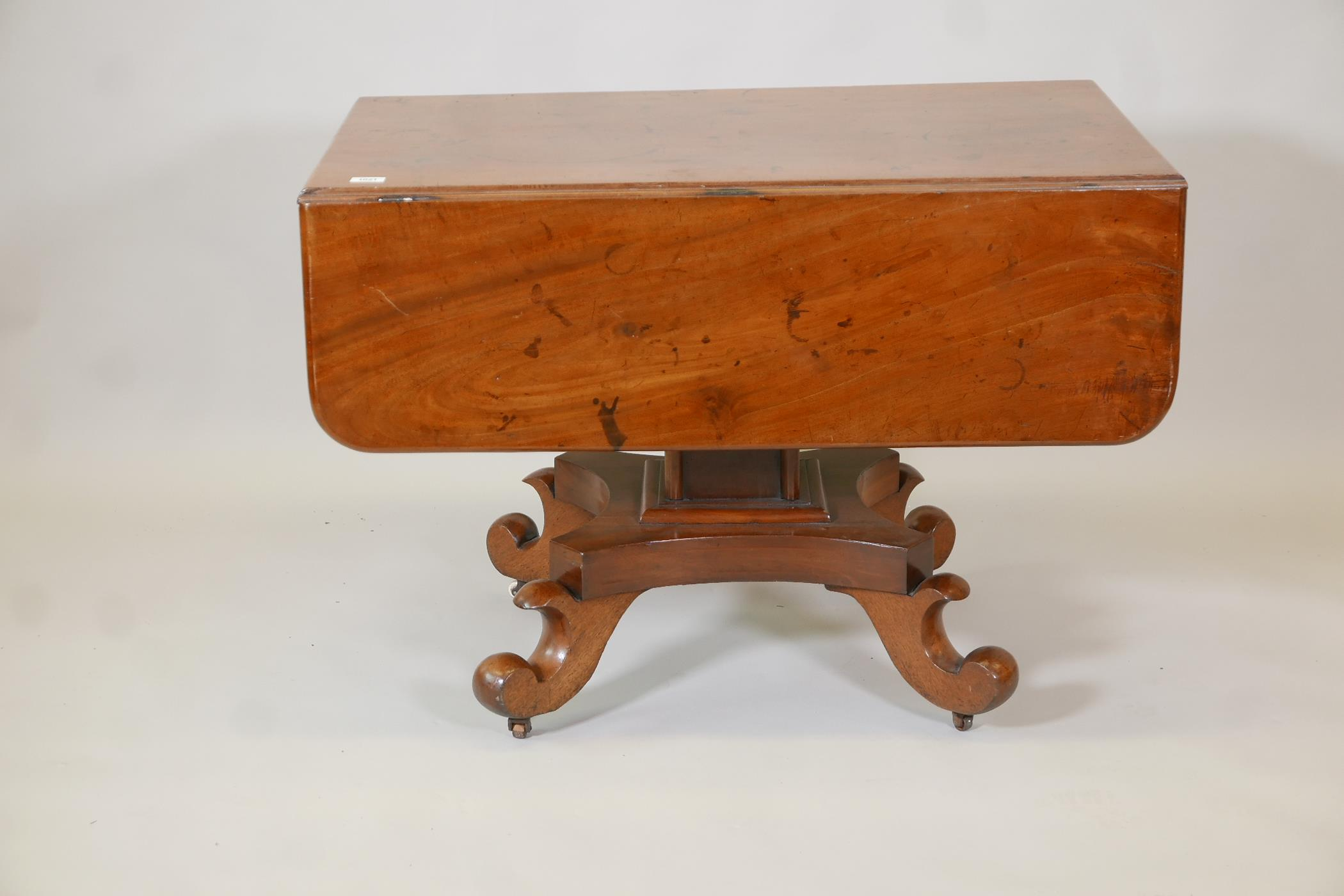 A C19th Continental mahogany sofa table with single end frieze drawer, raised on a square column and - Image 3 of 3