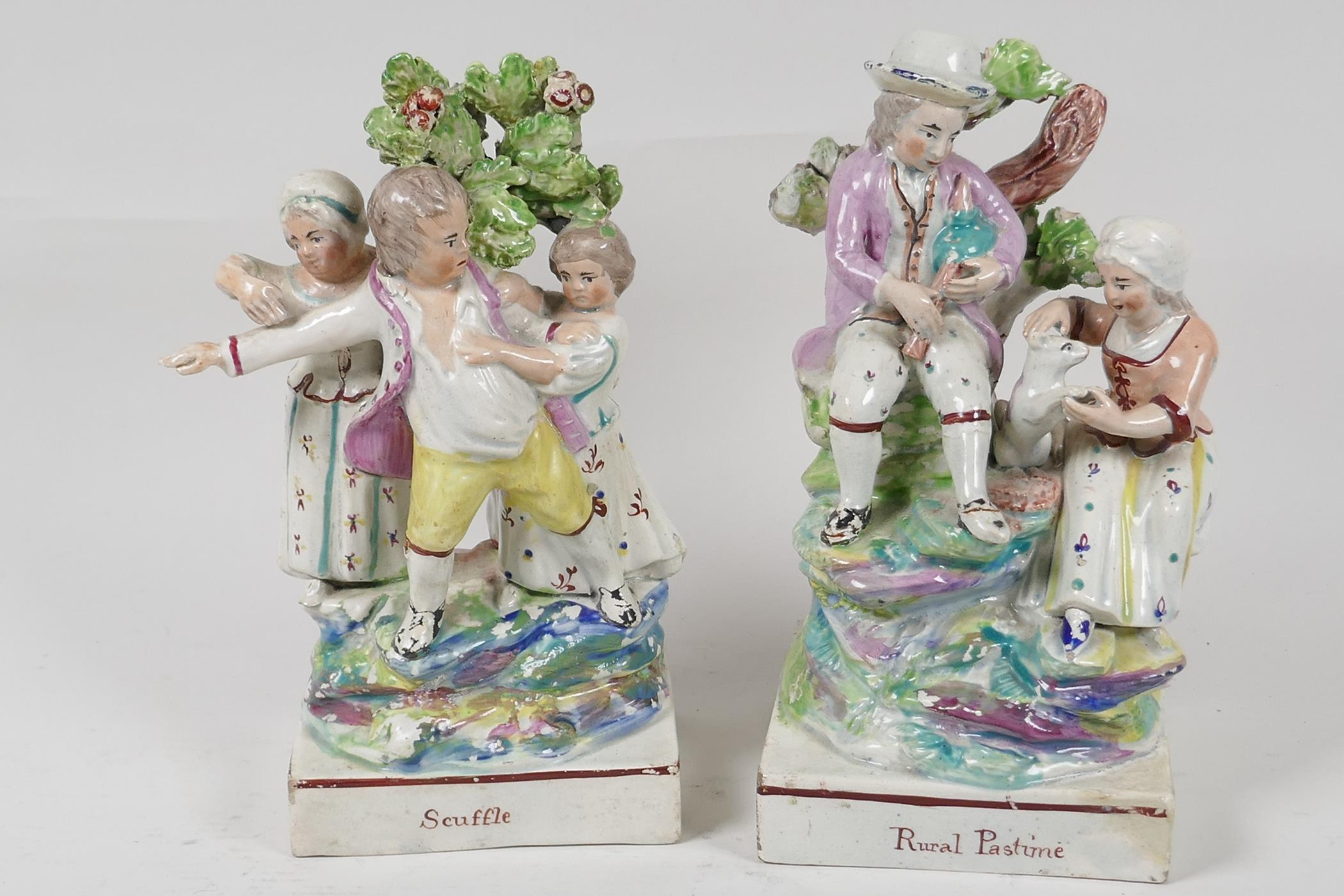 """Two C19th Staffordshire flat back brocage figures 'Rural Pastimes' and 'Scuffle', 7"""" high"""