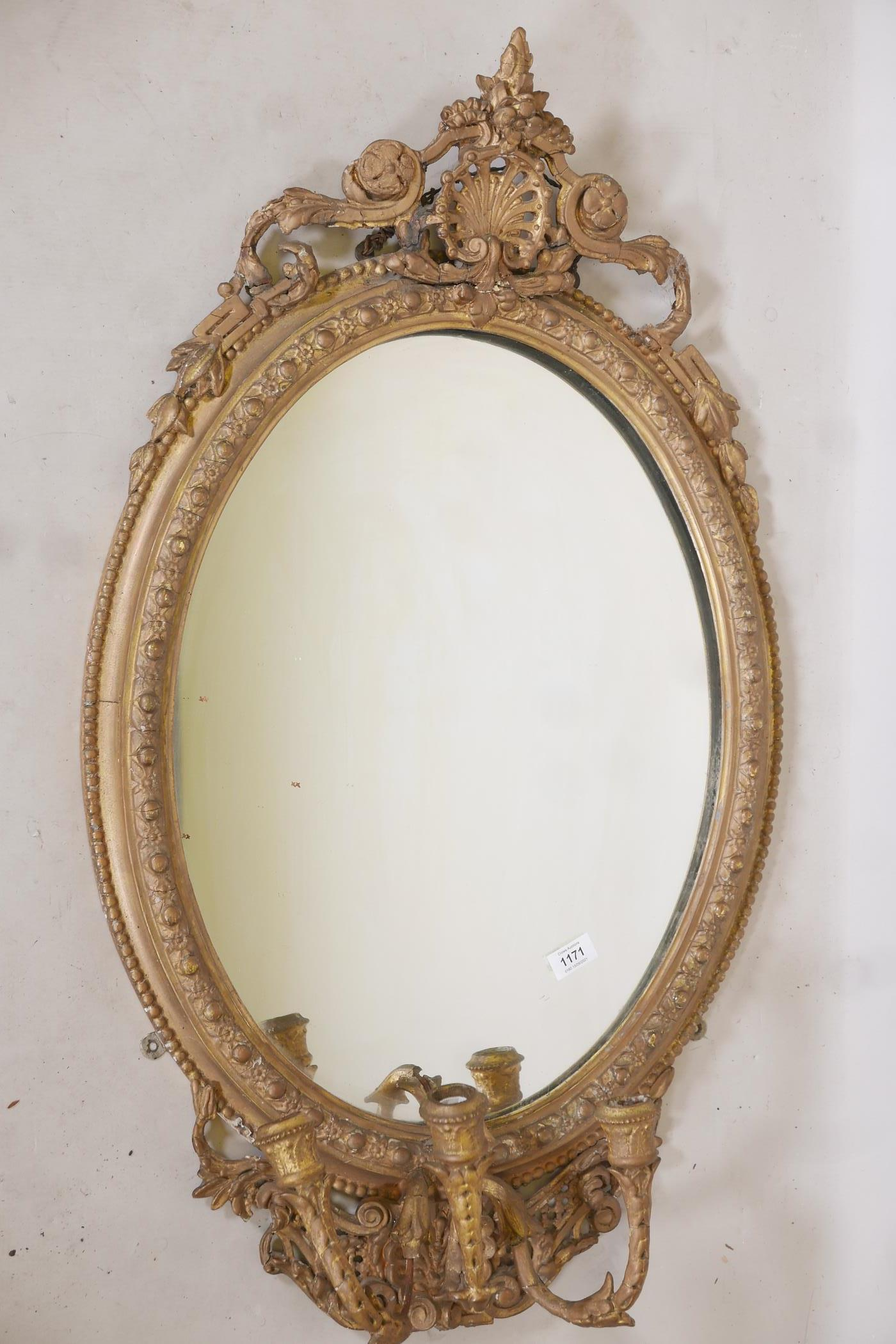 """A C19th giltwood and composition girondelle wall mirror with triple sconce, 37"""" x 23"""" - Image 2 of 5"""