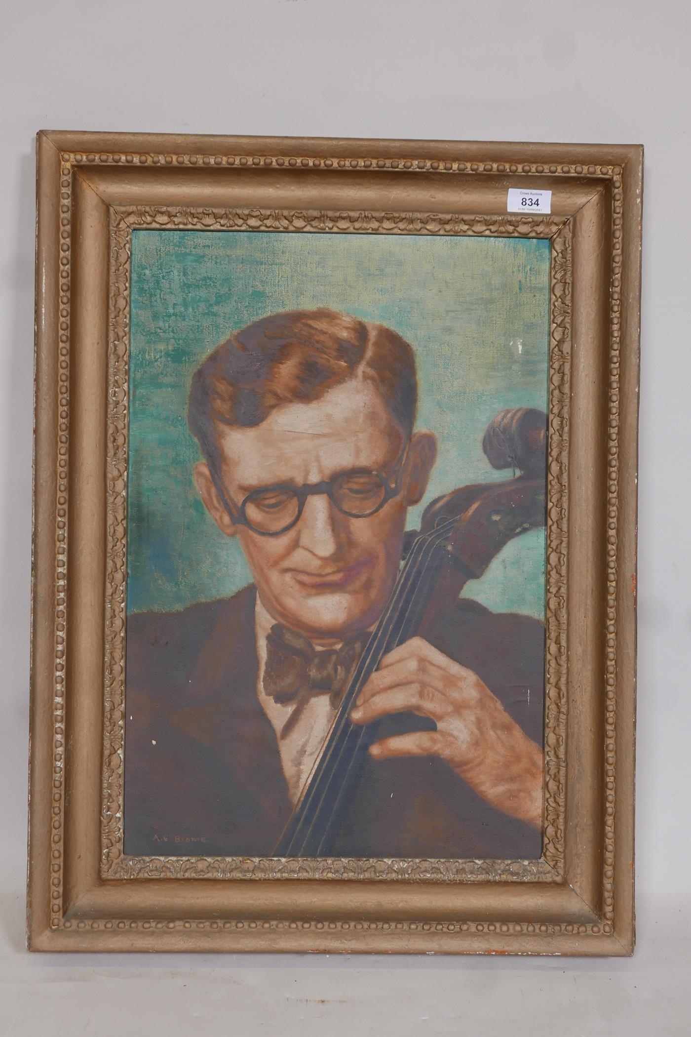 """A.C. Brome (Miss Adele Cecilia), The Cellist, signed, early C20th oil on canvas laid on board, 15"""" x - Image 2 of 5"""