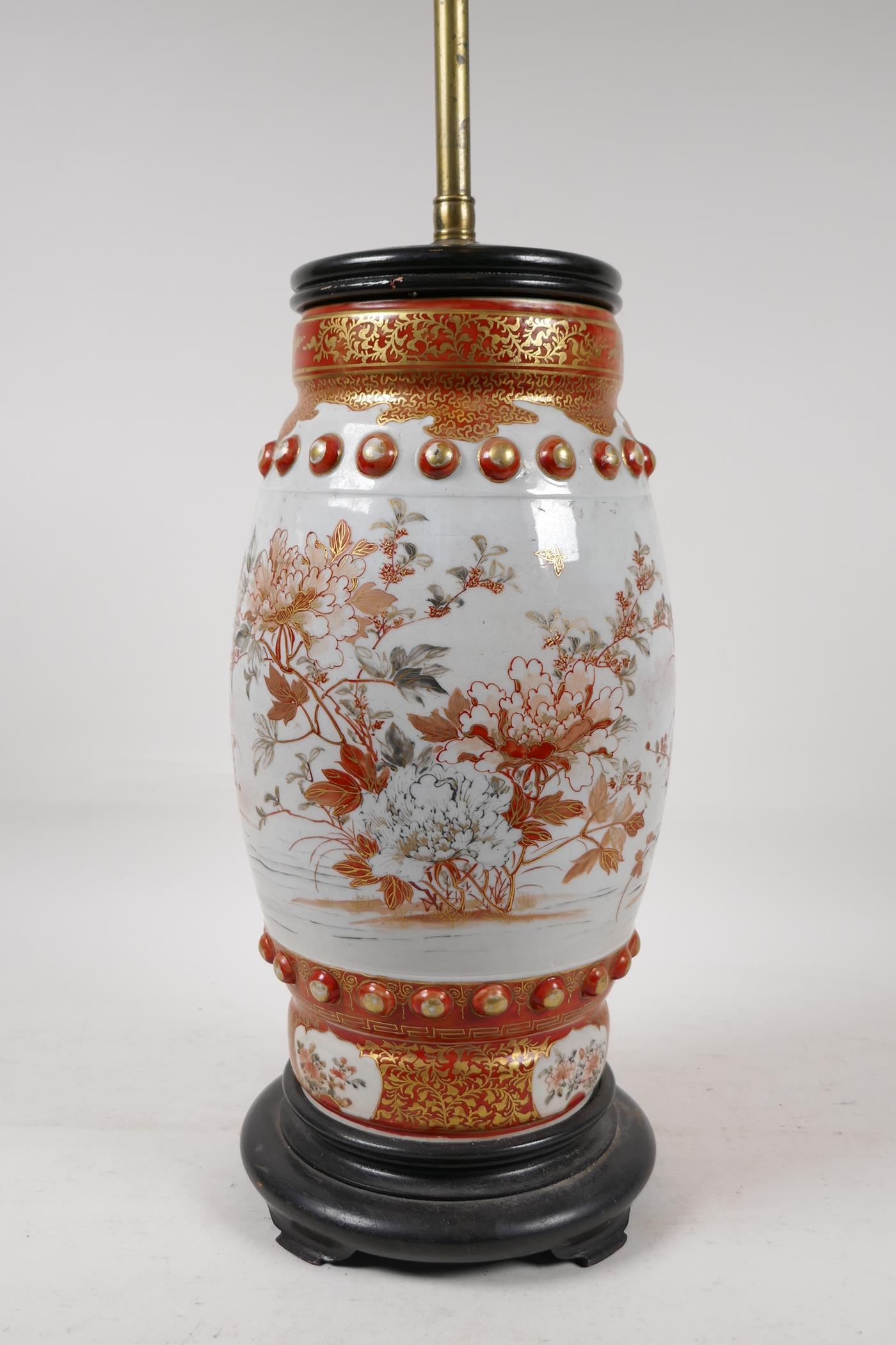 A Japanese Meiji period satsuma pottery vase decorated with flowers and butterflies, converted to - Image 5 of 5
