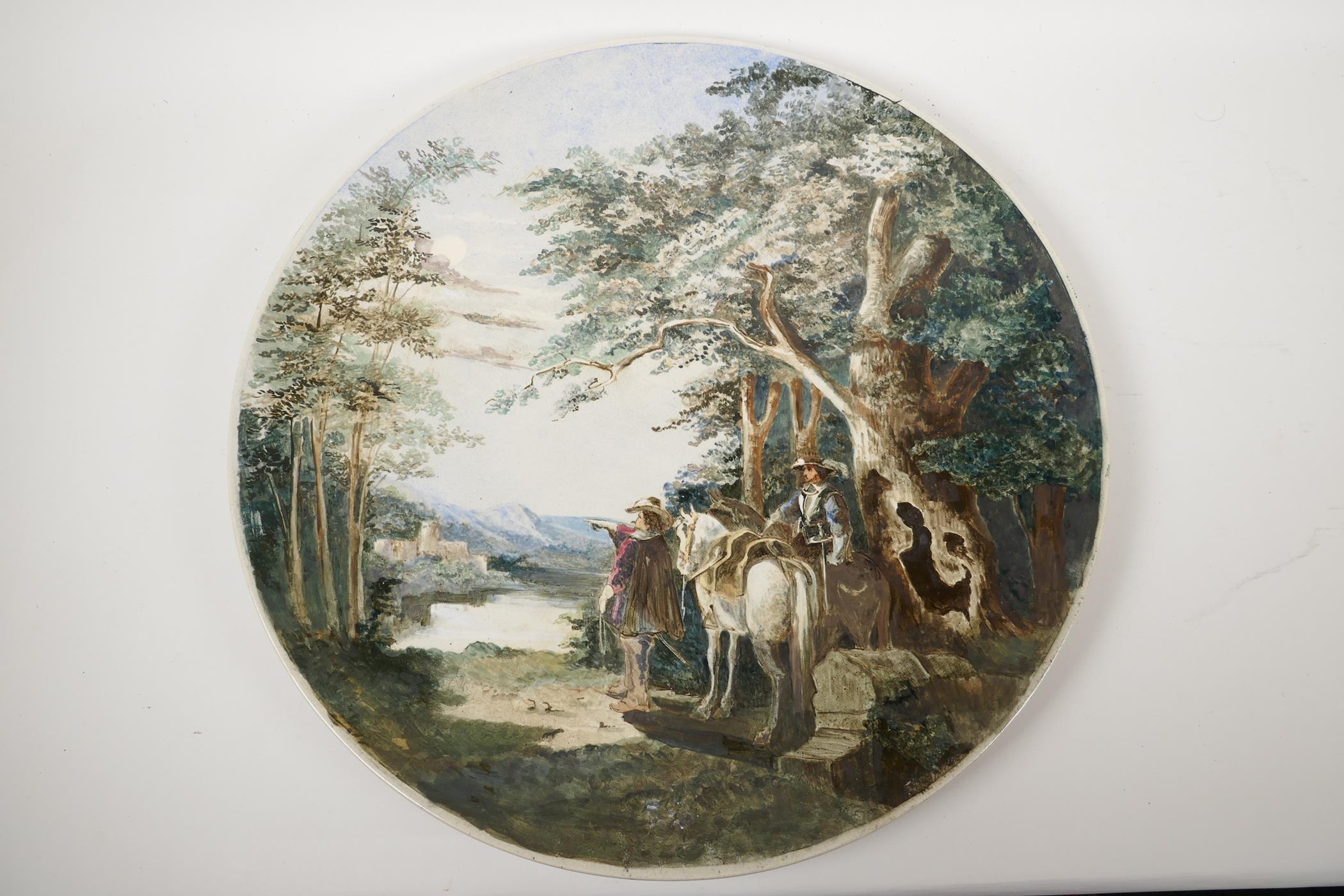 A large porcelain wall plaque painted with horsemen in a landscape, impressed Worcester Porcelain