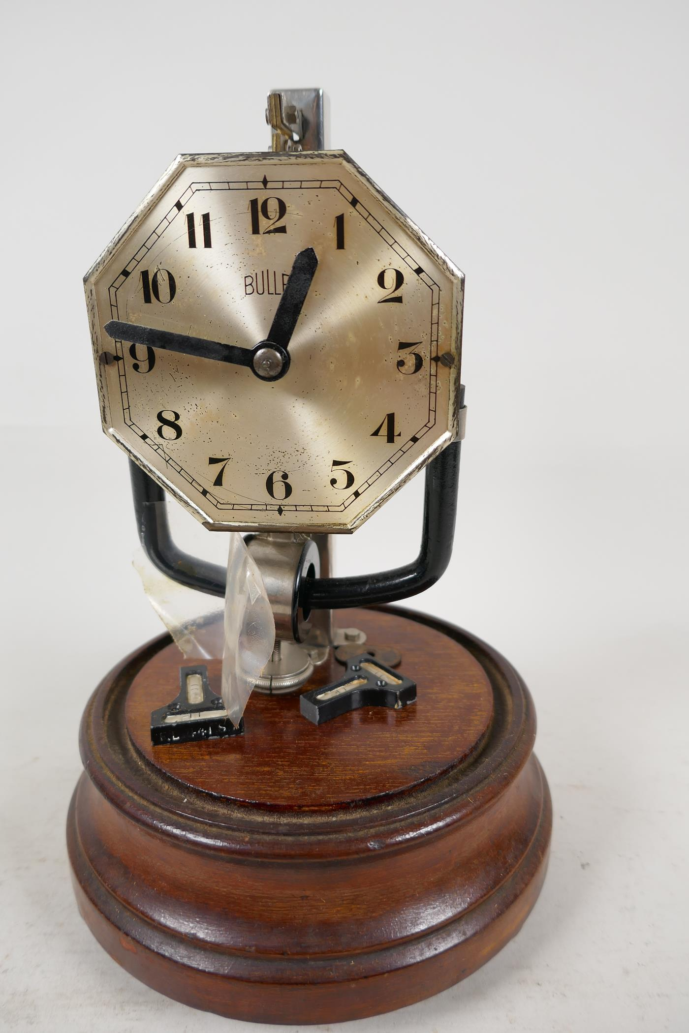 """A Bulle electric mantel clock under glass dome, 10½"""" high"""