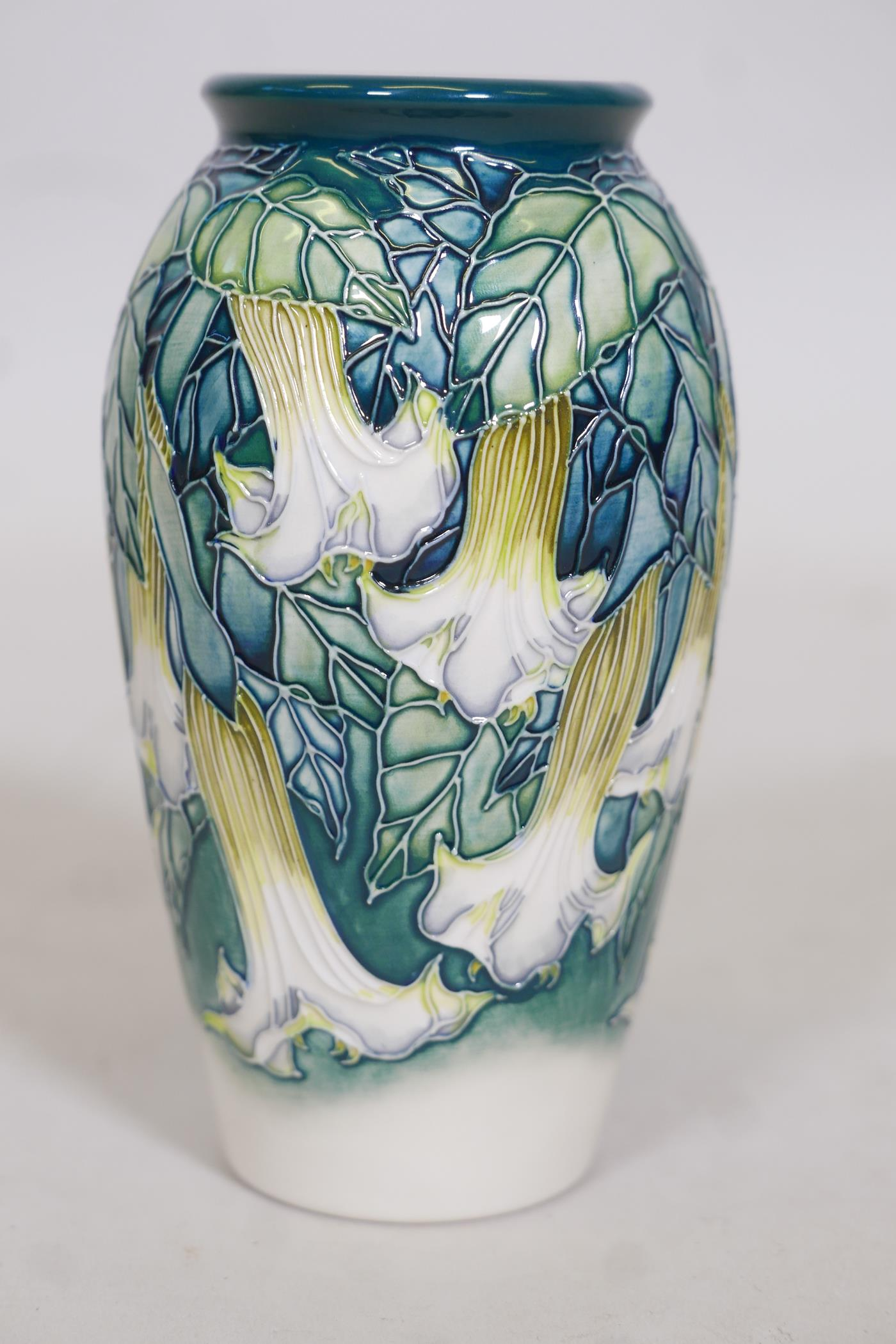 A Moorcroft vase 'Angels Trumpet' by Anji Davenport, stamped to base, 98, Moorcroft Collectors Clubs - Image 2 of 4