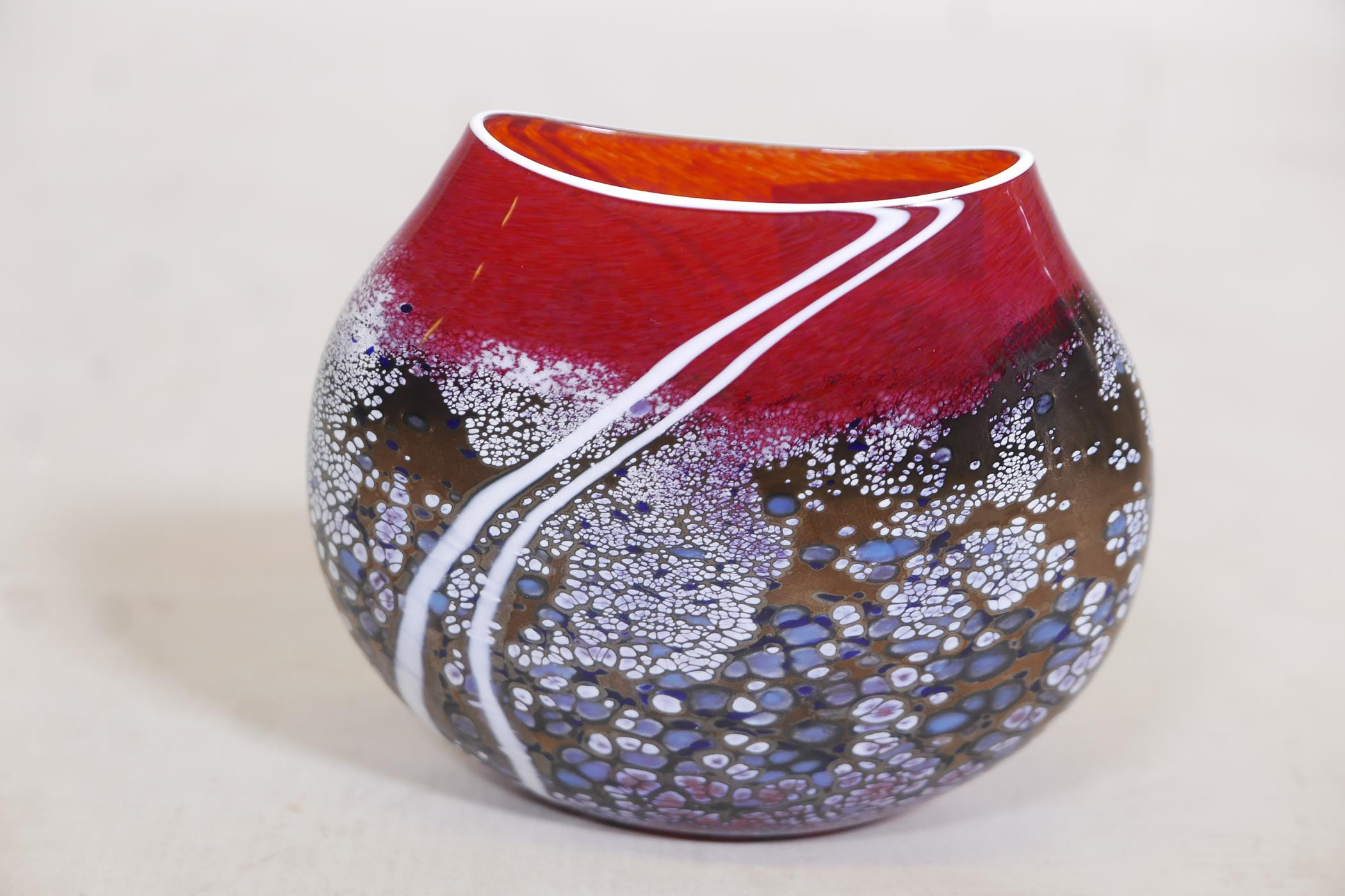 """A Martin Andrews 'Sunset' purse shaped glass vase, signed and dated 2014, 5"""" high"""