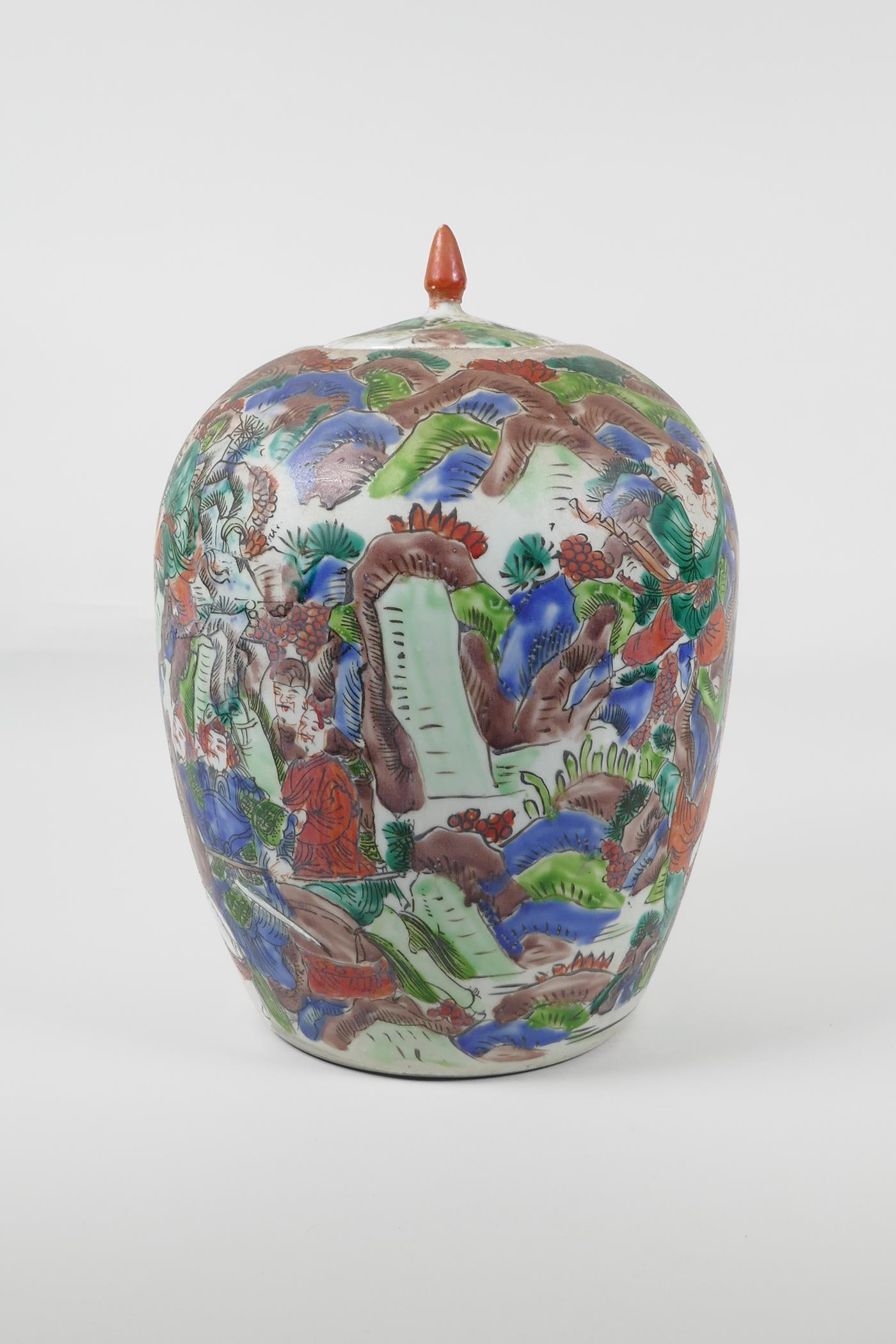 """A Chinese famille vert porcelain ginger jar and cover, decorated with a tiger hunting scene. 12"""" - Image 2 of 6"""